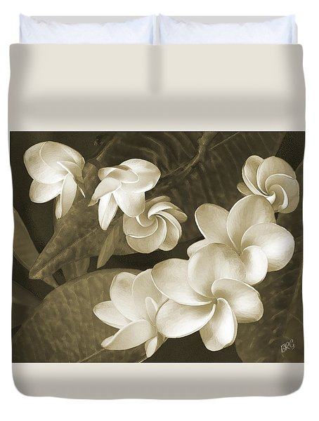 Duvet Cover featuring the photograph Vintage Plumeria by Ben and Raisa Gertsberg