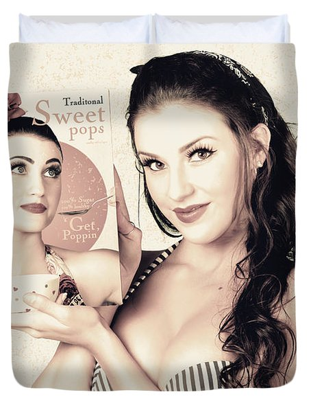 Vintage Pop Art Advert Girl With Breakfast Product Duvet Cover