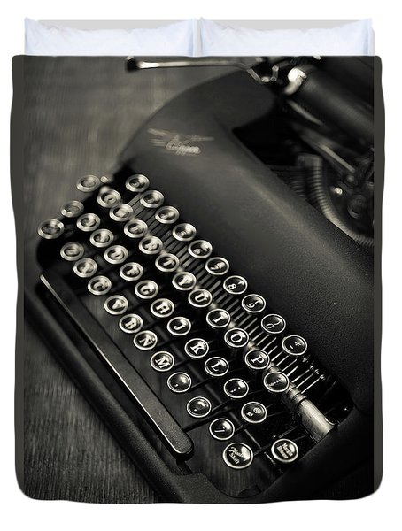 Duvet Cover featuring the photograph Vintage Portable Typewriter by Edward Fielding