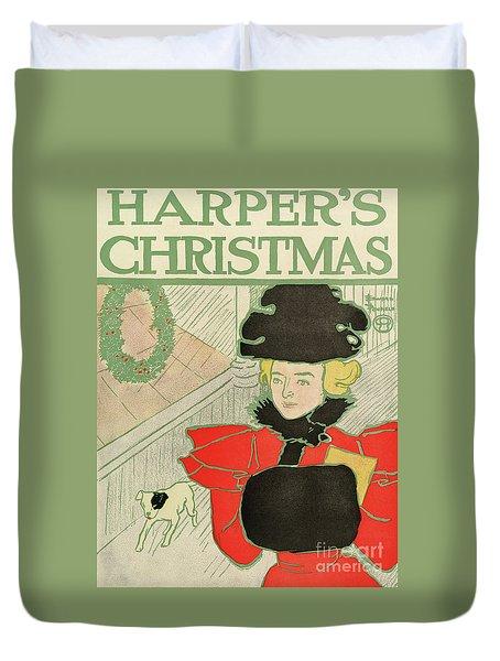 Vintage Poster Advertising Harper's New Monthly Magazine, Christmas 1894 Duvet Cover