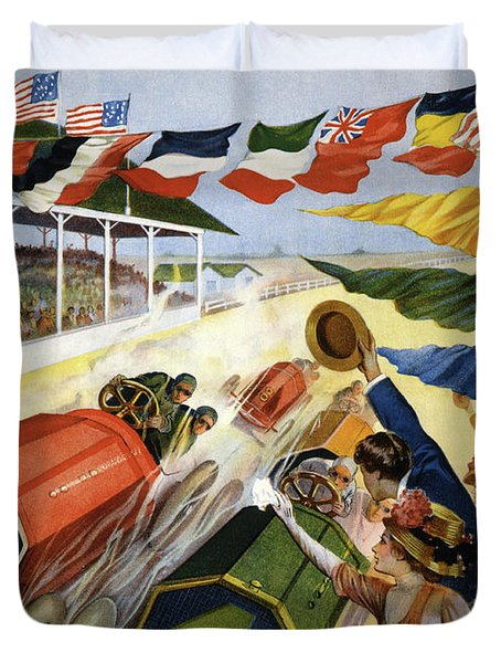 Vintage Poster Advertising The Indianapolis Motor Speedway Duvet Cover