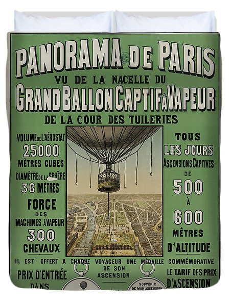 Duvet Cover featuring the photograph Vintage Poster Of Great Balloon View Of Paris 1878 by John Stephens