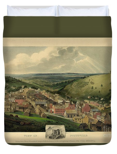 Duvet Cover featuring the photograph Vintage Pottsville Pennsylvania Etching With Remarque by John Stephens