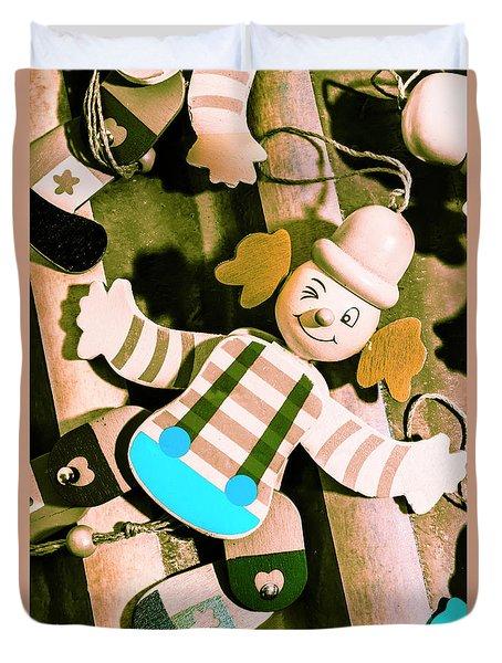 Vintage Pull-string Puppet Carnival Duvet Cover
