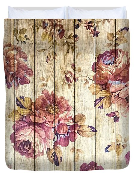 Vintage Purple Shabby Chic Country Roses On Wood Duvet Cover