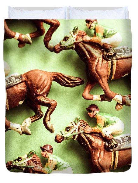 Vintage Racehorse Art Duvet Cover