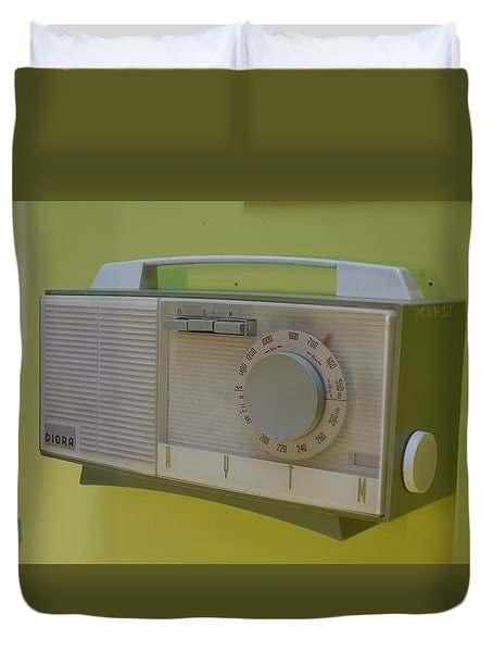 Duvet Cover featuring the photograph Vintage Radio With Lime Green Background by Matthew Bamberg