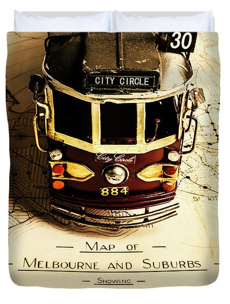 Vintage Railways And Tramways Duvet Cover