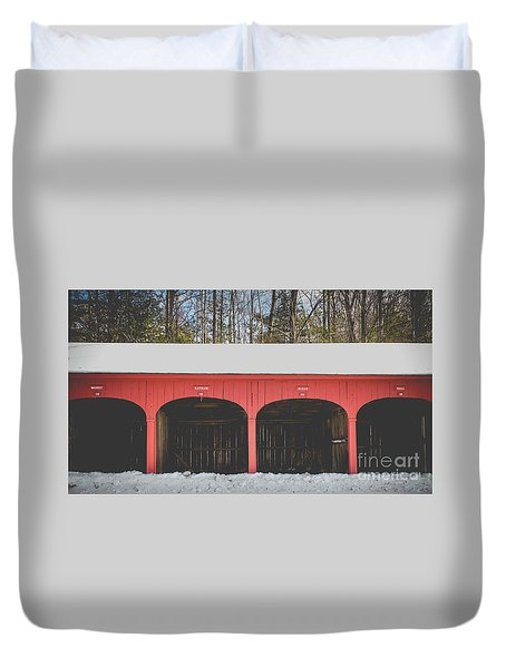 Duvet Cover featuring the photograph Vintage Red Carriage Barn Lyme by Edward Fielding