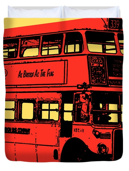 Vintage Red Double Decker London Bus Tee Duvet Cover