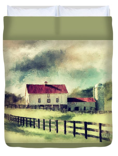 Duvet Cover featuring the digital art Vintage Red Roof Barn by Lois Bryan