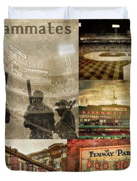 Vintage Red Sox Fenway Park Baseball Collage Duvet Cover