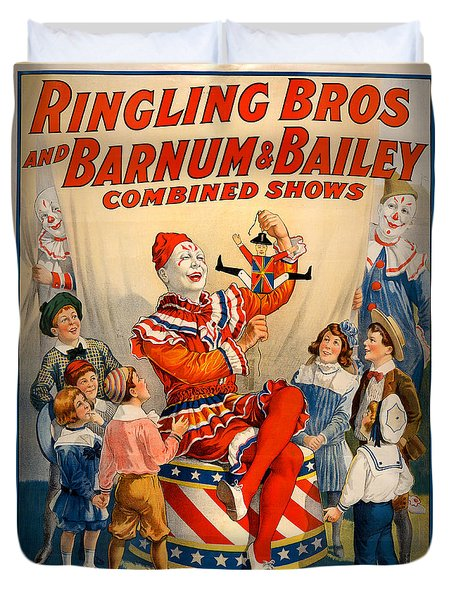 Vintage Ringling Brothers And Barnum And Bailey Combined Circus Duvet Cover