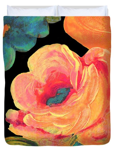 Duvet Cover featuring the painting Vintage Rose On Black by Lisa Weedn