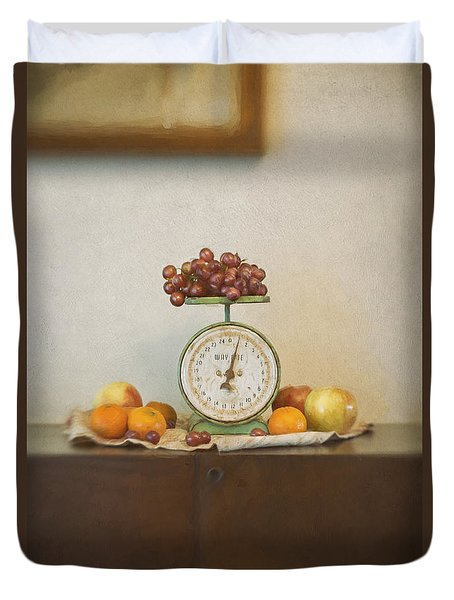 Vintage Scale And Fruits Painting Duvet Cover