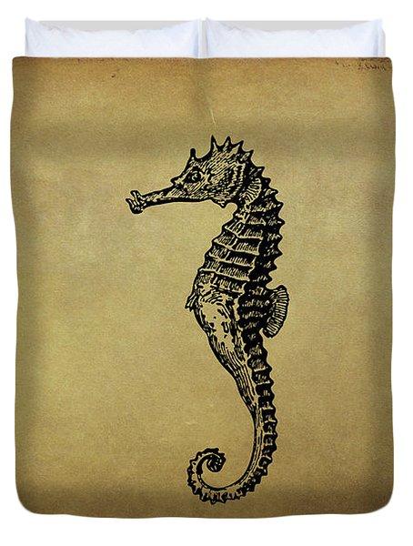 Vintage Seahorse Illustration Duvet Cover by Peggy Collins