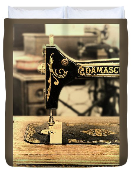 Duvet Cover featuring the photograph Vintage Sewing Machine by Jill Battaglia