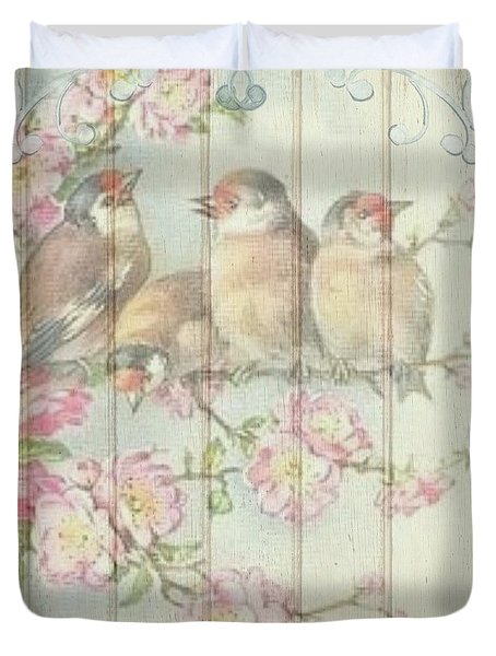 Vintage Shabby Chic Floral Faded Birds Design Duvet Cover