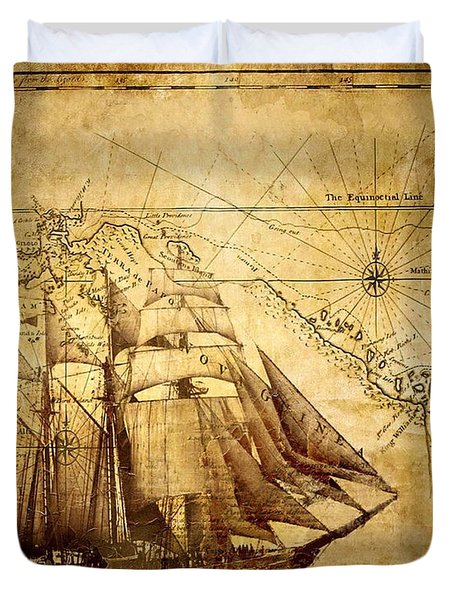 Vintage Ship Map Duvet Cover