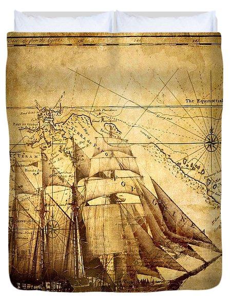Vintage Ship Map Duvet Cover