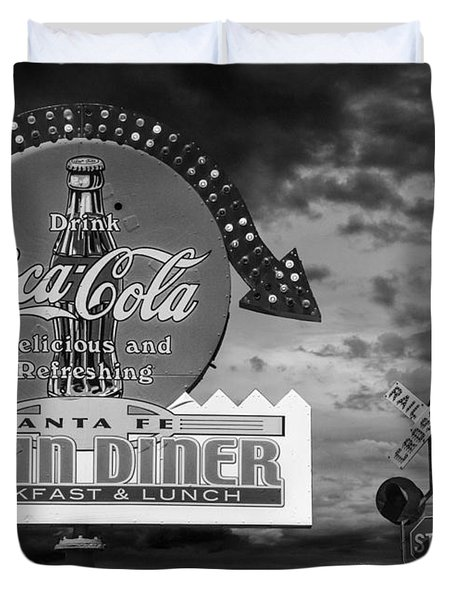 Vintage Sign In Black And White For A Classic Train Diner Duvet Cover