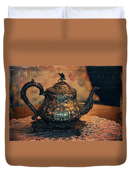 Vintage Silver Teapot Duvet Cover