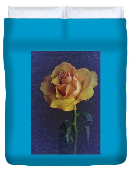 Duvet Cover featuring the photograph Vintage Single Rose by Richard Cummings