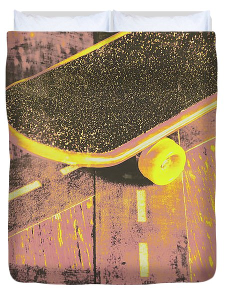 Vintage Skateboard Ruling The Road Duvet Cover