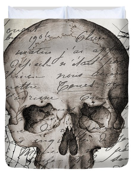 Vintage Skull Halloween Paris Duvet Cover