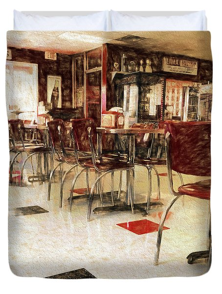 Vintage Small Town Diner Duvet Cover