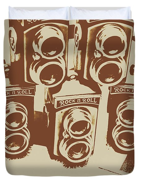 Vintage Snapshots And Old Cameras Duvet Cover