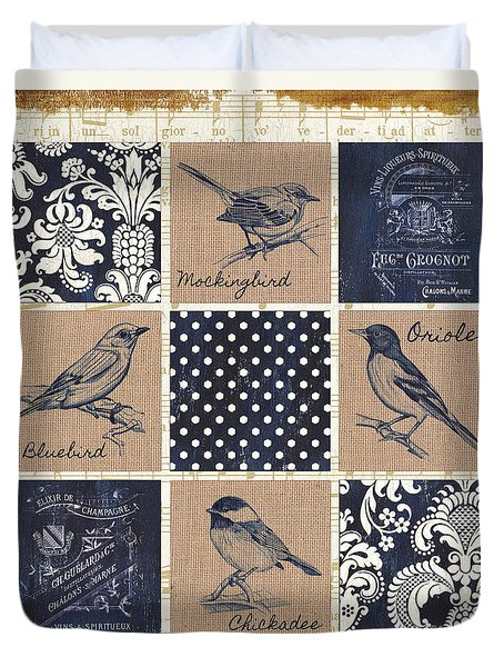 Vintage Songbird Patch 2 Duvet Cover by Debbie DeWitt