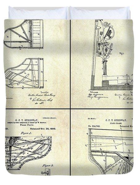 Vintage Steinway 4 Panel Patent Art Duvet Cover