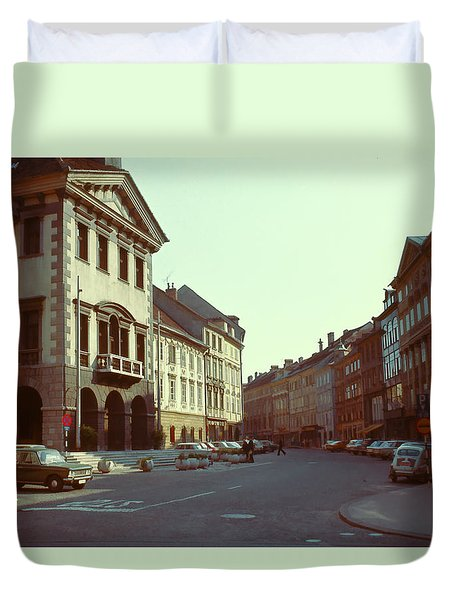 Vintage Street Scene 3 Duvet Cover by Cathy Anderson