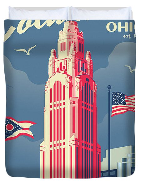 Columbus Poster - Vintage Style Travel Duvet Cover