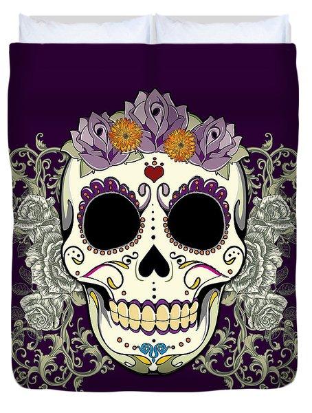 Vintage Sugar Skull And Flowers Duvet Cover