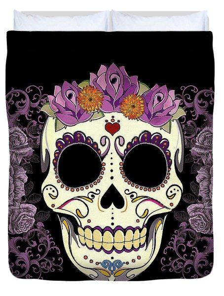 Vintage Sugar Skull And Roses Duvet Cover by Tammy Wetzel