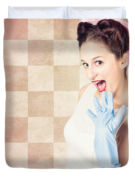Vintage Surprised Pinup Woman Doing Housework Duvet Cover by Jorgo Photography - Wall Art Gallery
