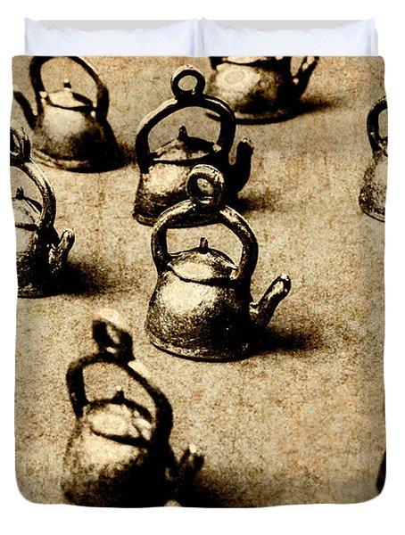 Vintage Teapot Party Duvet Cover