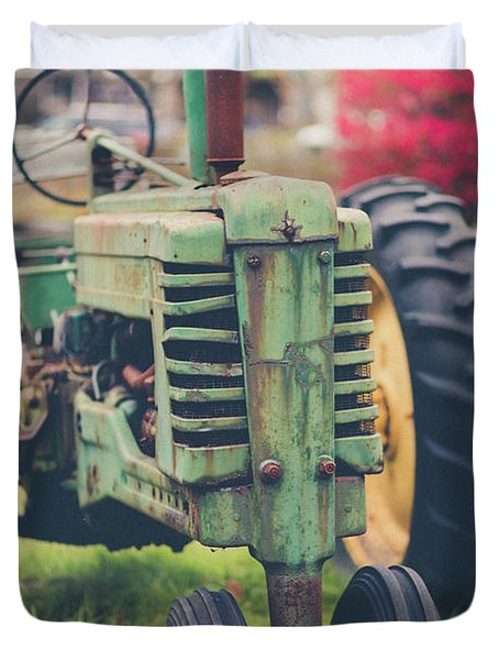 Duvet Cover featuring the photograph Vintage Tractor Autumn by Edward Fielding