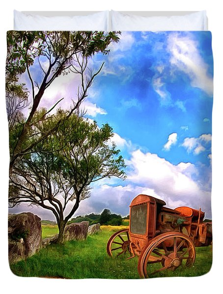 Vintage Tractor In The Blue Ridge Ap Duvet Cover