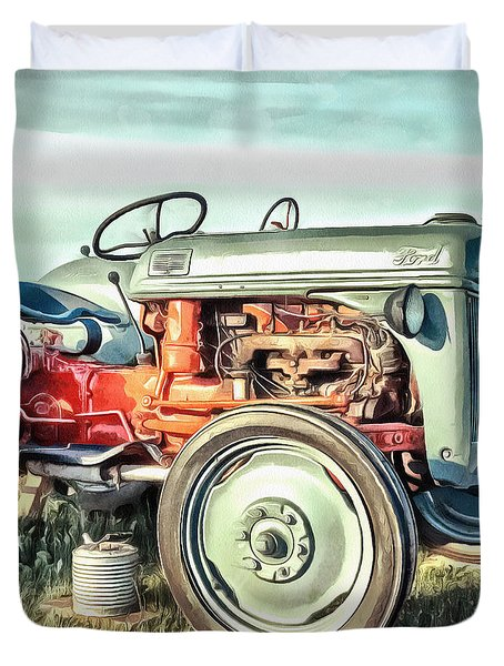 Vintage Tractors Pei Square Duvet Cover