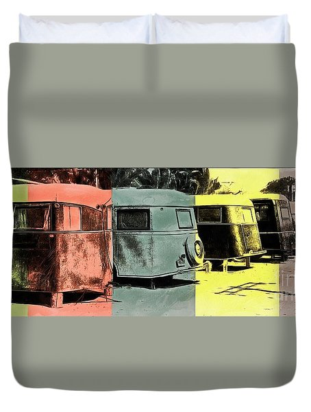 Duvet Cover featuring the painting Sarasota Series Vintage Trailer Park Pop Art by Edward Fielding