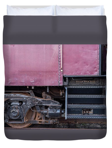 Vintage Train Car Steps Duvet Cover by Terry DeLuco