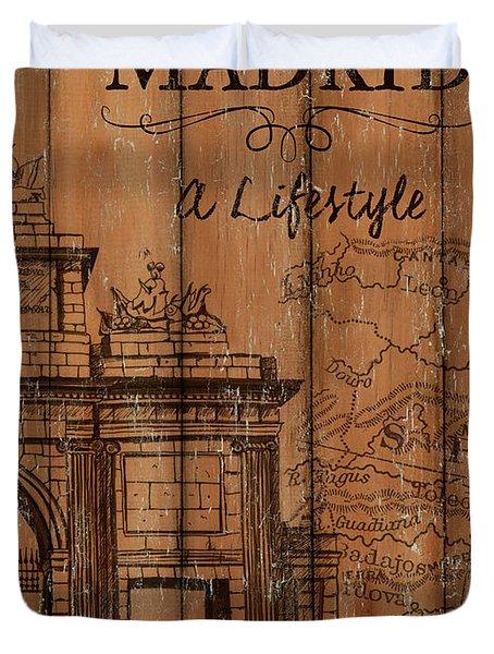 Vintage Travel Madrid Duvet Cover