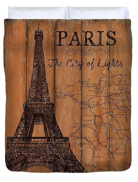 Vintage Travel Paris Duvet Cover by Debbie DeWitt