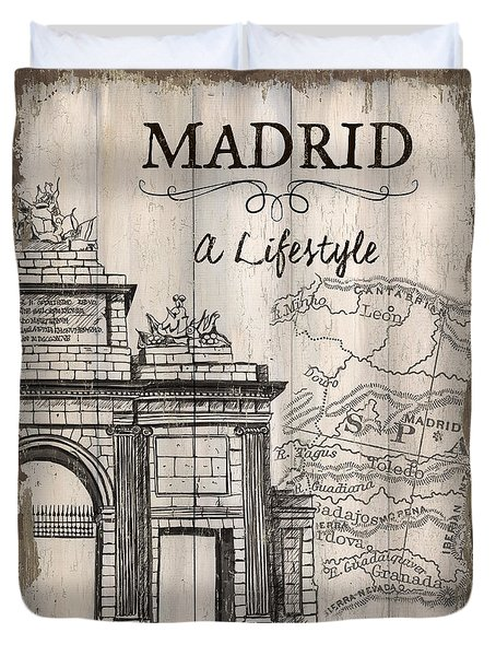 Vintage Travel Poster Madrid Duvet Cover