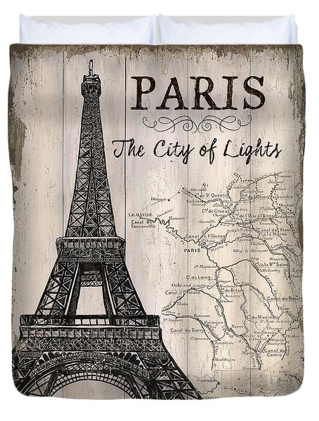 Vintage Travel Poster Paris Duvet Cover by Debbie DeWitt