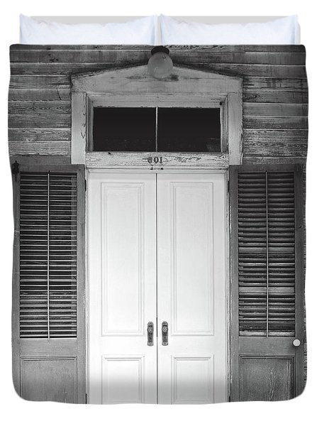 Duvet Cover featuring the photograph Vintage Tropical Weathered Key West Florida Doorway by John Stephens