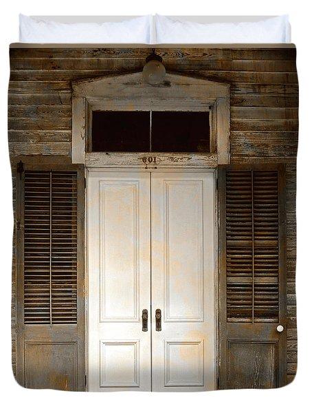 Vintage Tropical Weathered Key West Florida Doorway Duvet Cover by John Stephens